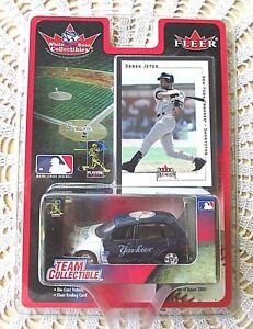 Fleer-Derek-Jeter-Yankees-White-Rose-Collectible-Trading-Card-amp-Die-Cast-Car-New
