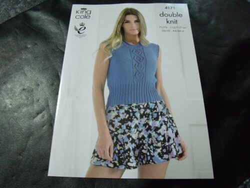 King Cole Double Knit Ladies Summer Top and Sweater Pattern 4171 71-117 cm