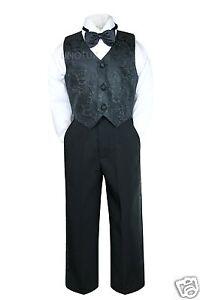 New Infant Toddler & Boy 4PC BLACK Party Formal Wedding Vest Set Suit 0- 4 Yrs