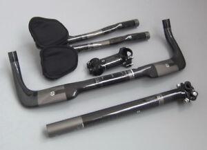Carbon TT tri Base Handlebar Bullhorn Bar seatpost stem 6//17° 6-12cm Aero bar