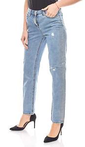 Details zu Aniston Jeans gerade Damen Jeans Hose mit Rissen Hose Used Jeans Kurzgröße Blau