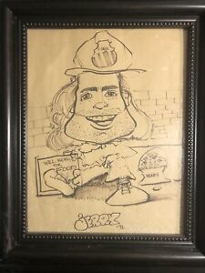 """Vintage Art Signed By Artist """"Will Work For Food"""" Caricature Drawing Dated 1992"""