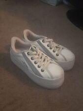Steve Madden Vintage White Platform Sneaker Bobbie White Leather Hampton 9 (8.5)