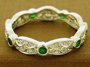 R133-Lovely-9ct-White-GOLD-Natural-Emerald-amp-Diamond-Full-Eternity-Ring-size-N