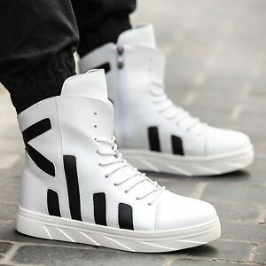 ee439728c8a Fashion Men s Sneaker Casual Korean Leather High Hip-hop Ankle Boots ...