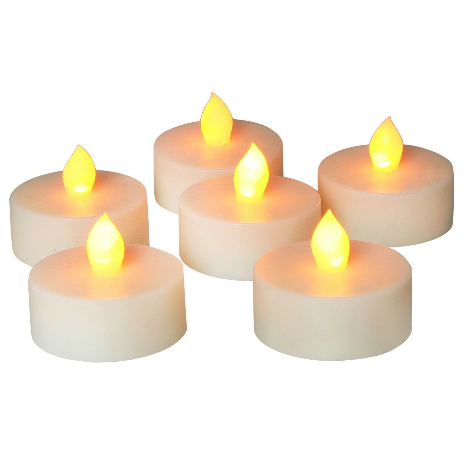 2.15 X 1.51 LED Tea Light with 6 Hour Timer Flameless Flickering Tealight Candles with Timer Cold White Pack of 6 Battery Operated Long Lasting Warm White LED Tea Votive Candle for Decoration