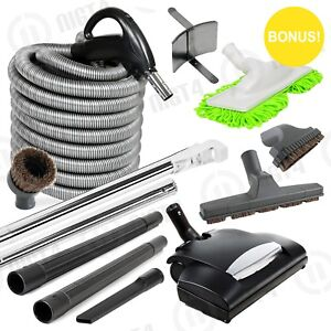 Super-Deluxe-Central-Vacuum-Built-in-Electric-Power-Head-30-039-Hose-Vac-KIT