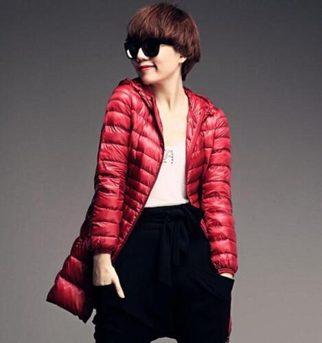 Ultra Light S-7XL Plus Size Women/'s Solid Long Hooded Parka Coat Down Warm New