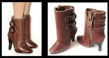 Doll Shoes Real Leather Boots for Ellowyne - 1 pr Brown