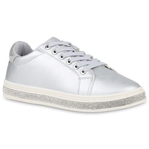 Damen Sneaker Low Leder-Optik Turnschuhe Strass Freizeitschuhe 830527 Schuhe