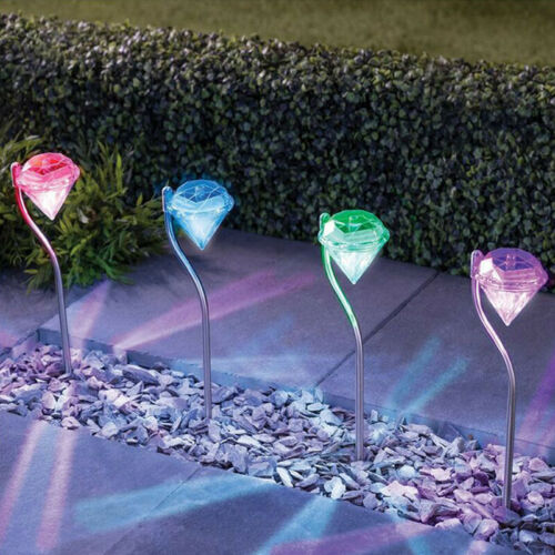 LED Color Changing Outdoor Solar Diamond Stake Lights Garden Yard Lawn Lamps CHL