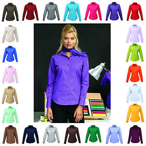 Ladies-Womens-Long-Sleeve-Blouse-Shirt-Business-Work-Top-30-Colours-Size-6-26