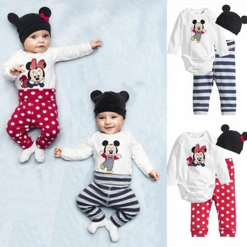Infant Baby Mickey Minnie Mouse Romper Jumpsuit Bodysuit Pants Hat Outfits Set