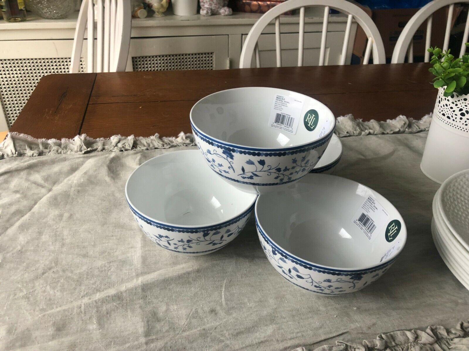 Ralph Lauren MACAO 4 blanc & bleu Floral Porcelain SOUP CEREAL BOWL NEW