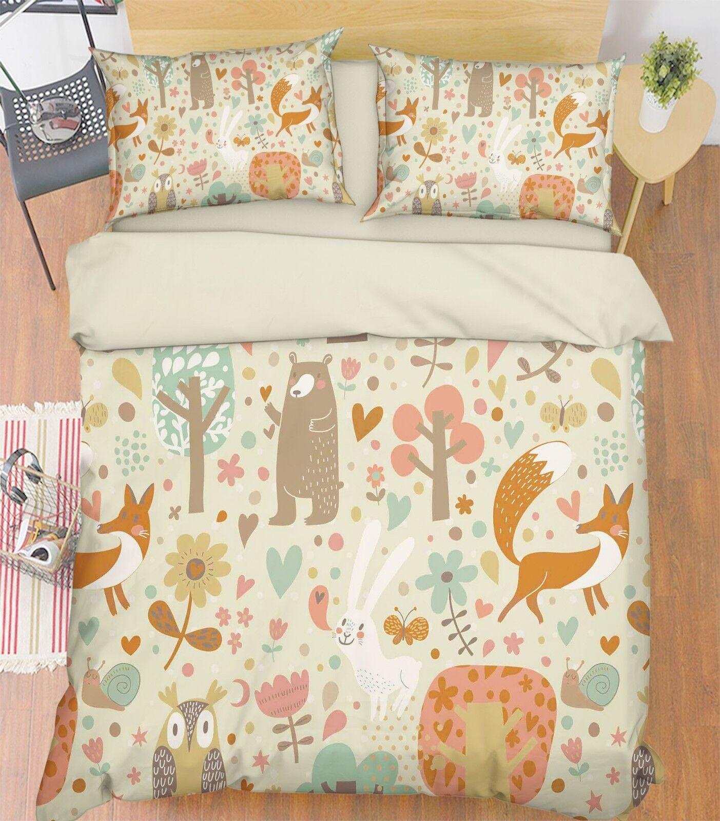 3D Cartoon Animal 5 Bed Pillowcases Quilt Duvet Cover Set Single King UK Lemon