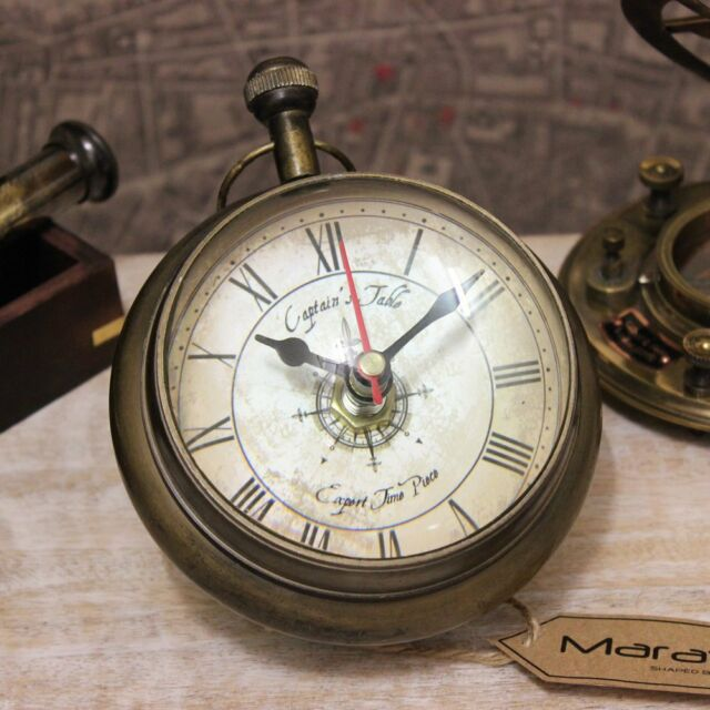 Kalanka Nautical Desk Clock Ball Brass Mantelpiece Antique Captain Time Piece