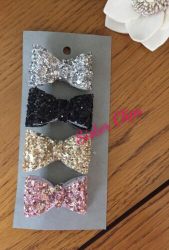 Girls Handmade 4 baby//toddler small black glitzy Glitter Hair Bow clips