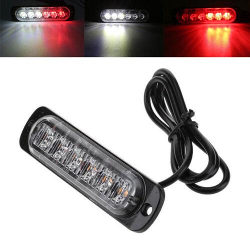 1Pc Red//White 6LED Car Truck Warning Hazard Flash Strobe Light Lamp Super Bright