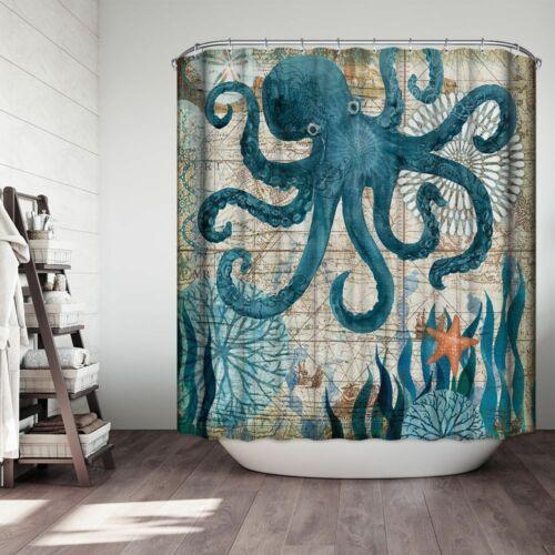 Sea Turtles Waterproof Non-Slip Bathroom Shower Curtain Toilet Cover Mat Rug
