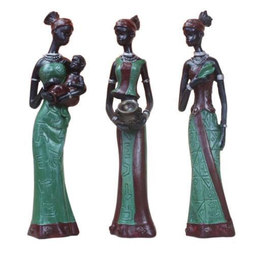 Elegant African Beauty Lady Decorative Women Stand Statue Decor Resin Figurine