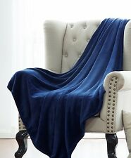NAVY BLUE SOLID VERSATILE SUPER SOFT WARM MICROPLUSH SMALL THROW BLANKET