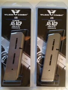 Lot-of-2-Wilson-Combat-1911-45acp-Full-Size-8-Round-Magazine-8rd-Mag-47D-NEW