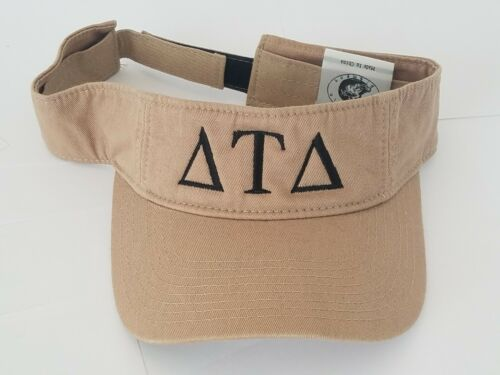 DELTA TAU DELTA TAN KHAKI and BLACK Sun Visor Cap Adjustable Hat