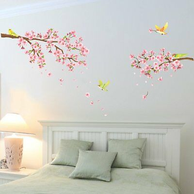Decowall Cherry Blossoms and Birds Wall Stickers Nursery Removable Decals 1303
