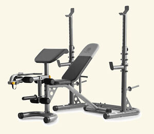 gold's gym xrs20 with squat rack weight lifting bench