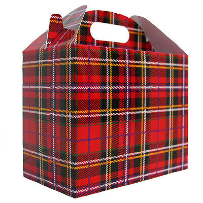 10 x TARTAN GABLE BOXES - Christmas Gift Hamper Box - Lunch Snack Party Bag