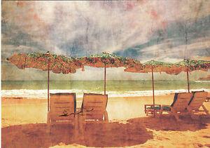 Kunstpostkarte - Urlaubsstimmung am Meer / Liegestuhl