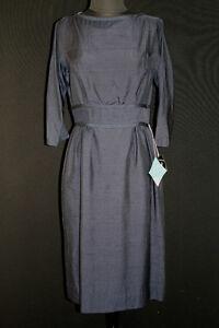 VINTAGE-DEADSTOCK-1950-039-S-1960-039-S-RAYON-SILK-DARK-BLUE-DRESS-SIZE-8