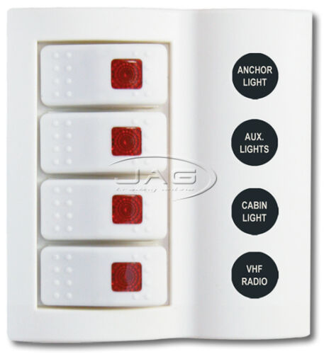4 GANG WHITE DELUXE LED ROCKER SWITCH PANEL /& CIRCUIT BREAKERS BOAT//MARINE