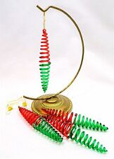 BOXED SET OF 4 SPIRAL GLASS ICICLE CHRISTMAS TREE BAUBLES ORNAMENTS RED & GREEN