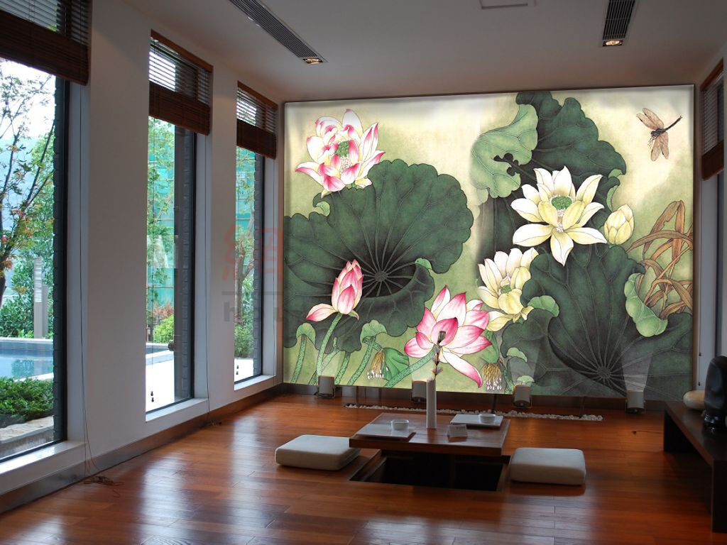 3D Lotus Flowers Dragonfly 4 Wallpaper Decal Dercor Home Kids Nursery Mural Home