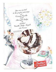1951 Sealtest Ice Cream Vintage Print Ad Perfect Marriage Vanilla And Fudge