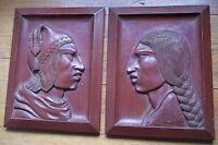 1950s Vtg INCA handmade HAND CARVED PERU peruvian native PROFILES wood WALL ART