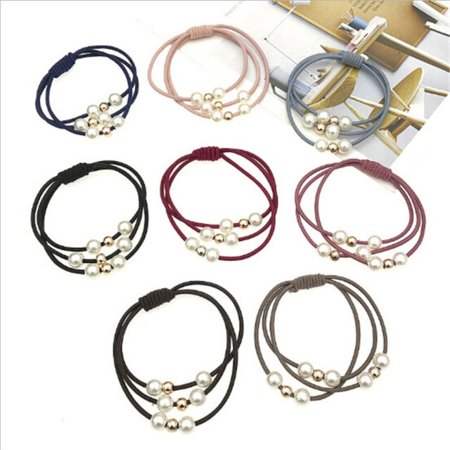 5 Pcs Fashion pearl Woman Hair Jewelry Knotted Rubber Band Head rope For Girl  Z