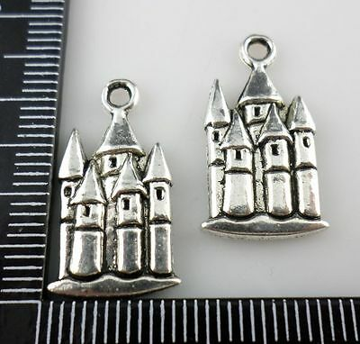 6/24/200pcs Antique Silver European Castle Charms Pendants (Lead-free)