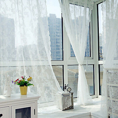Door Window Curtain Leaves Lace Floral Room Drape Panel Voile Tulle Sheer Scarfs