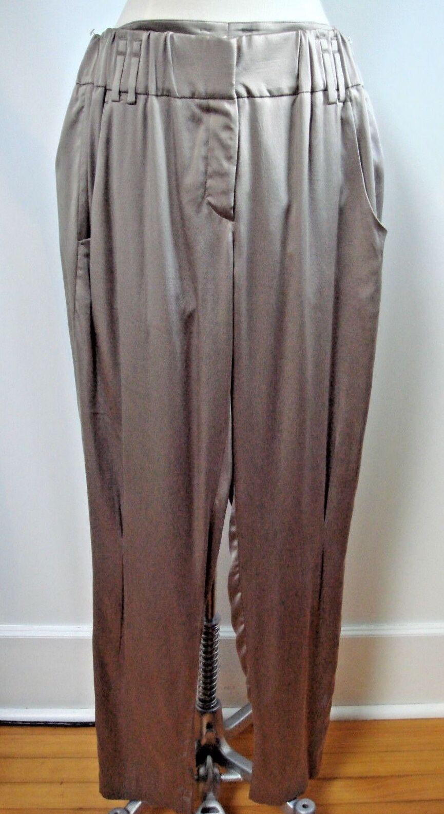BRUNELLO CUCINELLI GUNEX taupe silk pants size 10 WORN ONCE