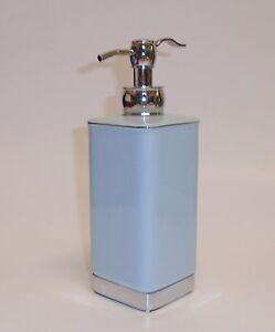New Light Blue Ceramic Bathroom Rectangular Soap Lotion Dispenser Silver Pump Ebay
