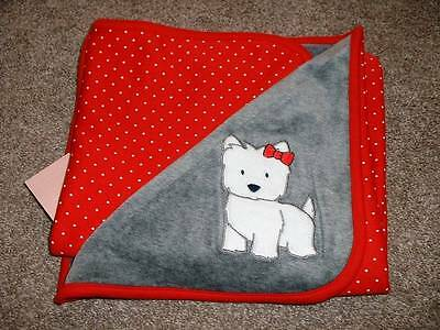 Gymboree Baby Girls Gray Red Velour Westie Blanket Soft 0-3 3-6 6-12 mos NWT NEW