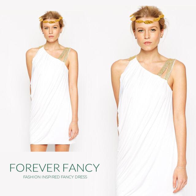 Ladies Forever Fancy Greek Roman Grecian Goddess Toga Fancy Dress Costume Womens