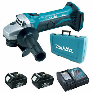 MAKITA-18V-DGA452-ANGLE-GRINDER-2-x-BL1830-BATTERIES-DC18RC-CHARGER-amp-CASE