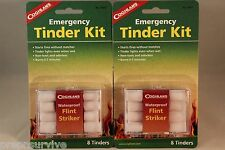 2 PK TINDER KITS - EACH KIT=WATERPROOF FLINT MATCH STRIKER AND 8 TINDERS IN CASE