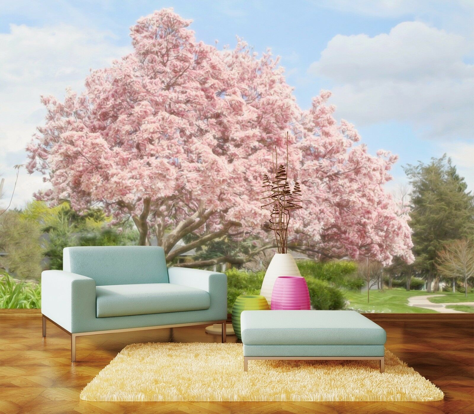 3D Blooming trees 1234 Wall Paper Print Wall Decal Deco Indoor Wall Murals