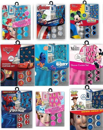 Disney//Pixar//Marvel//Starwars Fabric Shower Curtain+12 Matching Hooks Set New