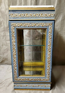HORCHOW-Italy-Curio-Display-Cabinet-Vitrine-Glass-Marble-Carved-Floral-Gold-Wood