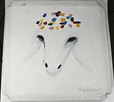 """UNTITLED #5"" (Sheep) By Menashe Kadishman Signed Original Oil on Canvas 24""x24"""